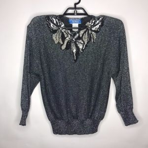 VTG Liana Petites Sequin Detail Metallic Sweater